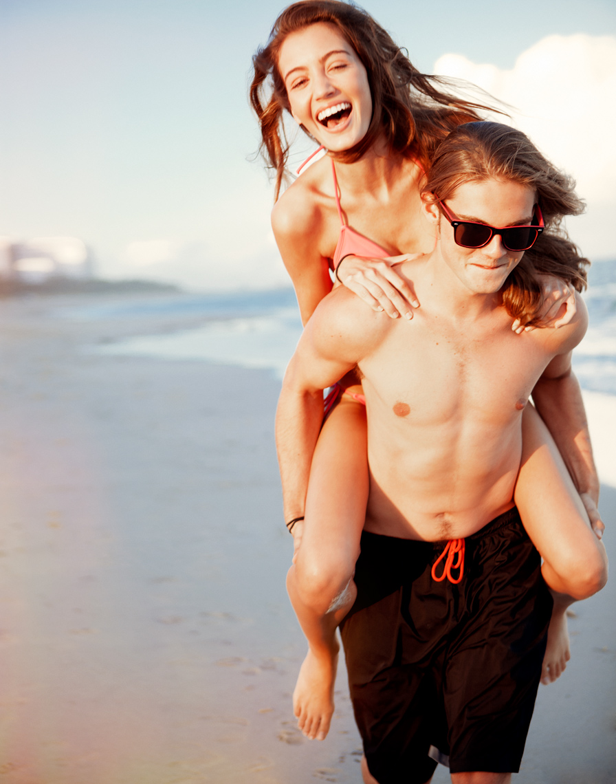 piggyback on the beach